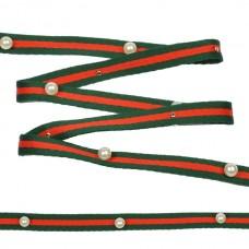 Тесьма-стропа TBY  Лампас с бусинами PB2 шир.10мм цв.зеленый/красный уп.13.71м