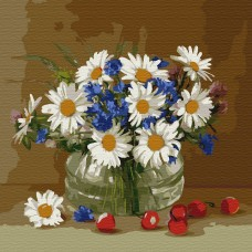 Картины по номерам Molly KH0734 Бузин. Ромашки и васильки (23 цвета) 30х30 см