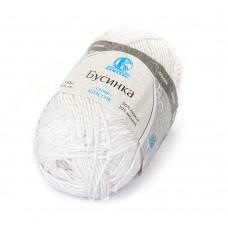 Пряжа для вязания КАМТ Бусинка (90% хлопок, 10% вискоза) 5х50г/110м цв.002 отбелка