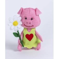 Набор для изготовления текстильной игрушки из фетра ПФД-1058 Хрюша 11,5 см