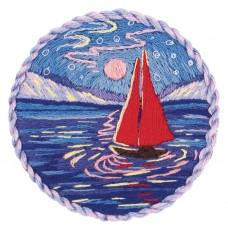 Набор для вышивания PANNA Живая картина  JK-2207 Брошь. Парусник под луной 5,5х5,5 см
