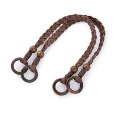 Ручка для сумки шнур вощеный/дерево TBY.27372 48см цв.коричневый уп.2шт
