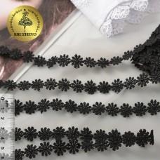 Кружево гипюр ромашка КМС-1250 шир.15мм цв.черный уп.13,71м