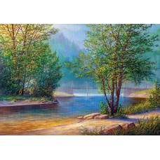 Алмазная вышивка Утро на берегу реки LMC018 50х65 тм Цветной