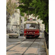 Картина по номерам с цветной схемой на холсте Molly KK0665 Трамвай Аннушка 30х40 см