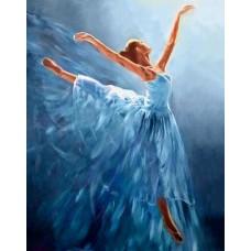 Алмазная мозаика на холсте ГРАННИ Ag2334 Балерина в голубом 38х48см