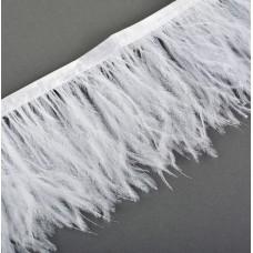 Перья на ленте Страус FBY-08-01 шир.8см цв.белый уп.2м