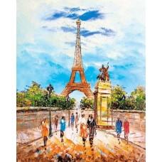 Алмазная вышивка Прогулка по Парижу LG281 40х50 тм Цветной