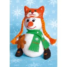 Набор для изготовления текстильной игрушки из фетра ПСФ-1604 Снеговичка 13,5см