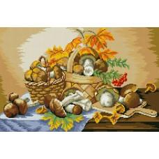 Набор для изготовления картин АЛМАЗНАЯ ЖИВОПИСЬ АЖ.1013 Грибное лукошко 54х36см