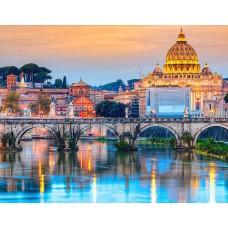Алмазная вышивка Мост Ангелов Рим LG193 40х50 тм Цветной