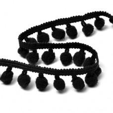 Тесьма с помпонами цв.F322 (031) черный TBY-ТP-20 шир.20мм уп.10м