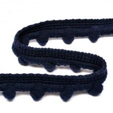 Тесьма с помпонами TBY-PP11 шир.15мм цв.S058 т.синий уп.8.23м