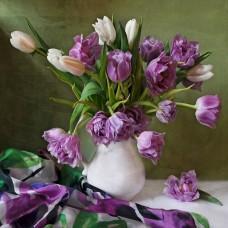 Картины мозаикой Molly KM0681 Букет с тюльпанами (28 цветов) 30х30 см
