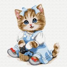 Картины по номерам Molly KH0844 Кошечка с корзинкой 20х20 см