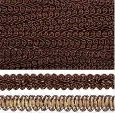 Тесьма TBY Шанель плетеная шир.12мм 0384-0016 цв.F302 (32) т.коричневый уп.18,28м