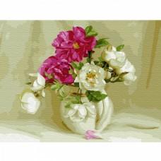 Картина по номерам с цветной схемой на холсте Molly KK0655 Бузин. В белом кувшинчике (23 цвета) 30х40 см