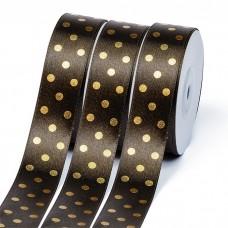 Лента атласная Ideal горошек золото шир.25мм LDAG860 цв.860 коричневый уп.27,4м