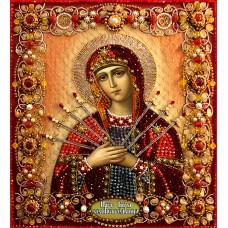 Набор для вышивания хрустальными бусинами ОБРАЗА В КАМЕНЬЯХ  7742 Богородица Семистрельная