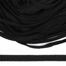 Шнур плоский х/б 10мм турецкое плетение цв.032 чёрный уп.50 м