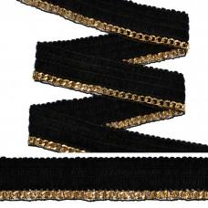 Тесьма TBY с цепочкой SL.TCSB шир.25мм цв.черный/золото уп.22,85м