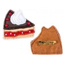 Набор для изготовления брошки из фетра с вышивкой бисером ПФСБ-1508 ШОКОЛАДНОЕ ПИРОЖНОЕ 4,1х4,7 см