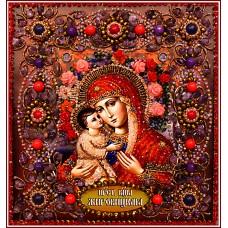 Набор для вышивания хрустальными бусинами ОБРАЗА В КАМЕНЬЯХ  77-Ц-08 Богородица Жировицкая