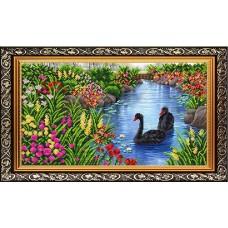 Рисунок на ткани бисером БЛАГОВЕСТ К-3508 На пруду 31х44 см