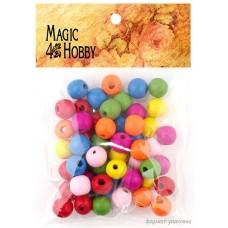 Бусины деревянные детские MAGIC HOBBY MG-B 119 цв.ассорти уп.40г (180±3 шт.) ?8 мм, in ?1,5мм