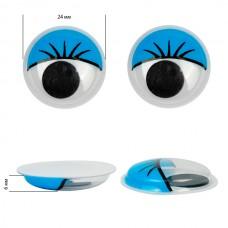 Глаза бегающие с ресницами TBY 24мм цв.синий уп.10шт