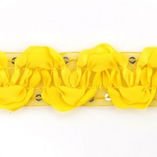 Тесьма с пайетками TBY TH463-1 шир.25мм цв.016 желтый уп.18,28м