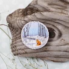 Набор для вышивания PANNA Живая картина  ЖК-2192 Брошь. Зимний лес 5,5х5,5 см