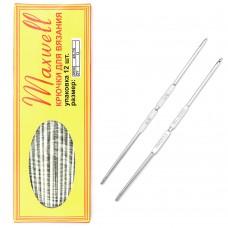 Крючки для вязания  ТВ-СН-01  Maxwell  №4/0-7/0  двусторон. цв.никель  упак.12шт.