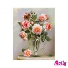 Картины по номерам Molly KH0803 Бузин. Розы в вазе (24 цвета) 40х50 см