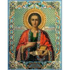 Набор для вышивания хрустальными бусинами ОБРАЗА В КАМЕНЬЯХ  7740 Святой Пантелеймон целитель 32 х 25,5 см