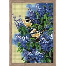 Алмазная вышивка Птички в сирени QS200272 30х40 тм Цветной
