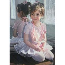 Картина по номерам с цветной схемой на холсте Molly KK0678 Маленькая балеринка 30х40 см
