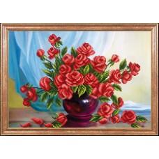 Рисунок на ткани МАГИЯ КАНВЫ КС070 Алые розы 39х27 см