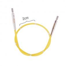 42171 Knit Pro Тросик для съемных укороченных спиц SmartStix, длина 20см (готовая длина спиц 40см), желтый