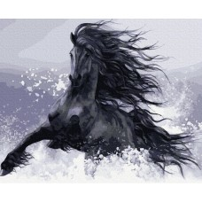 Картины по номерам Molly KH0936 Конь вороной (17 цветов) 40х50 см