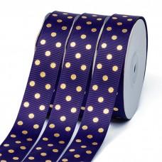 Лента репсовая Горошек золото шир.25мм LDRG476 цв.476 фиолетовый уп.27,4м