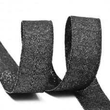 Тесьма киперная металлизированная 16 мм полиэстер TBYT21 цв.черный уп.22,85м