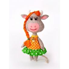 Набор для изготовления игрушки из льна и хлопка ПЛДК-1458 Корова Буренка