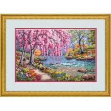 Набор для вышивания DIMENSIONS DMS-70-35374 Цветение вишни над ручьем 38х25 см