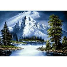 Алмазная мозаика на холсте ГРАННИ Ag565 Горное озеро 70х48см