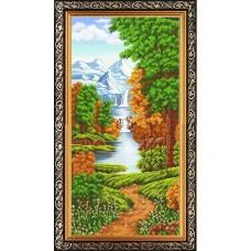 Рисунок на ткани бисером БЛАГОВЕСТ К-3554 Пейзаж. Триптих 3 25х55 см