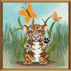 Наборы для вышивания мулине НОВА СЛОБОДА СВ 5564 Тигра 18х18 см