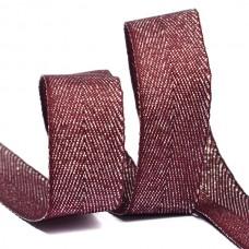 Тесьма киперная металлизированная 16 мм полиэстер TBYT11 цв.S021 красный уп.22,85м