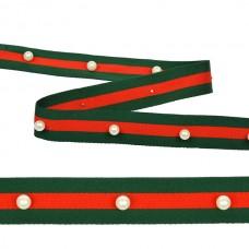Тесьма-стропа TBY  Лампас с бусинами PB4 шир.25мм цв.зеленый/красный уп.13.71м