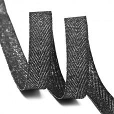 Тесьма киперная металлизированная 10 мм полиэстер TBYT20 цв.черный уп.22,85м